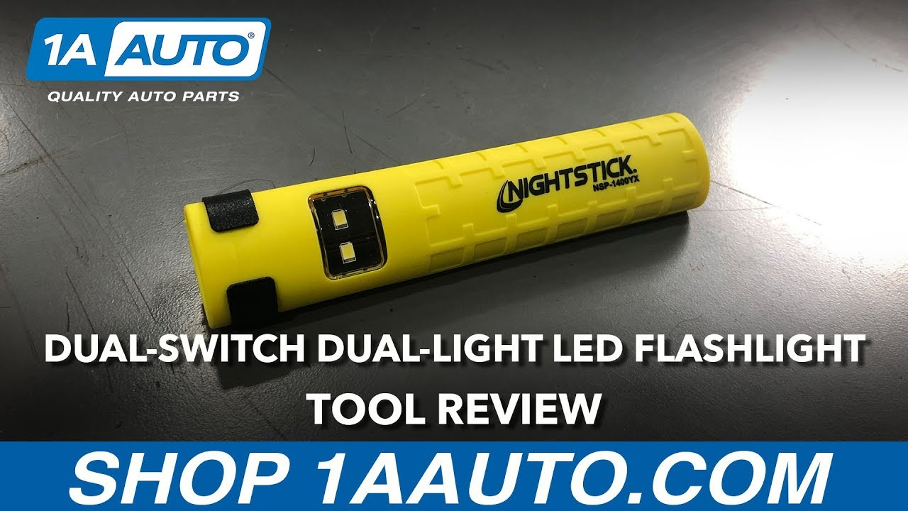 Yellow Dual-Switch Dual-Light LED Flashlight - Available on 1aauto.com