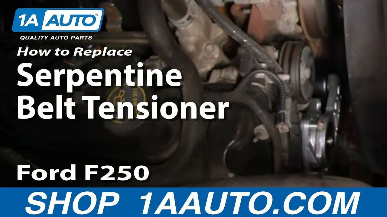 how to replace serpentine belt tensioner 99 04 ford f250 super duty