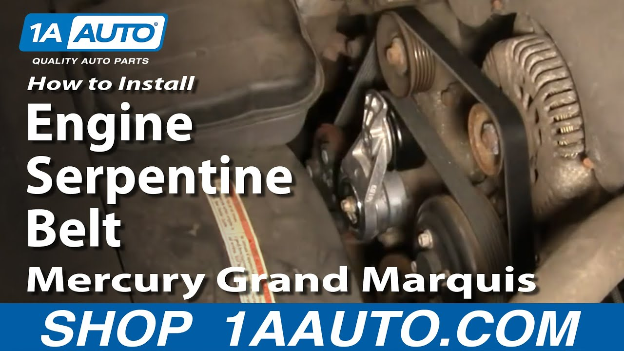 how to replace serpentine belt 00-02 mercury grand marquis 4 6l | 1a auto