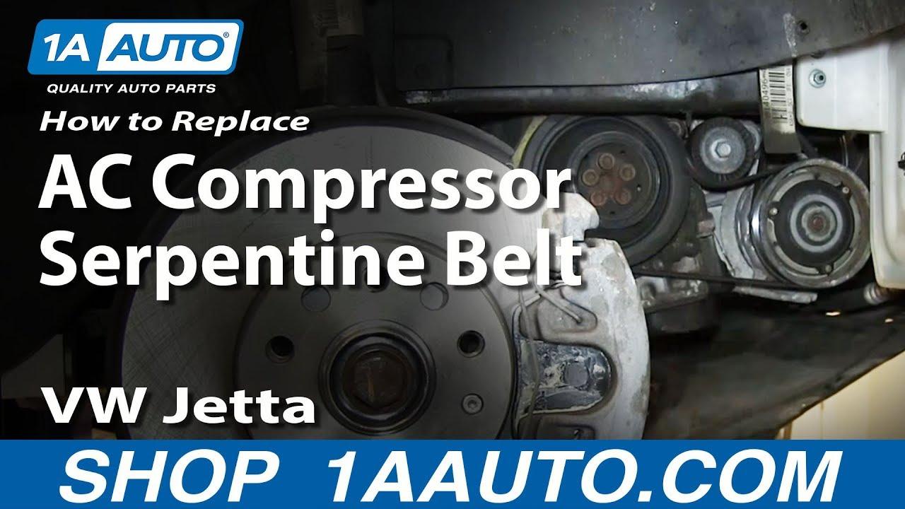How To Replace AC Compressor Serpentine Belt 05-10 25L VW Jetta
