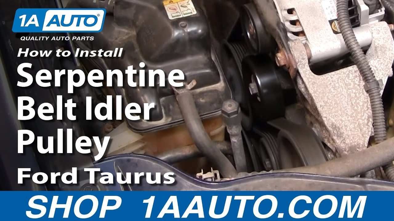 how to replace idler pulley 00 07 ford taurus 1a auto